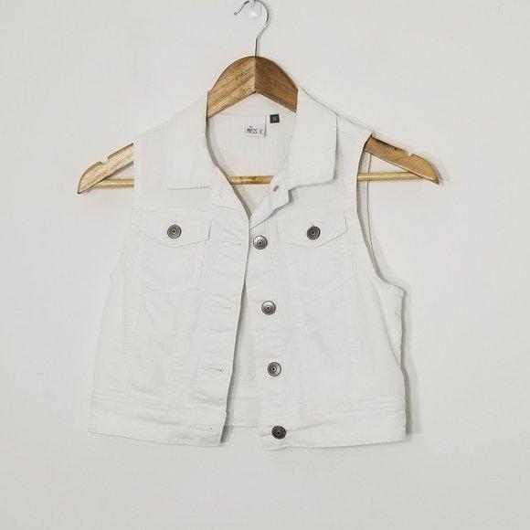 Miss K | White Denim Cropped Vest Size 16 Button